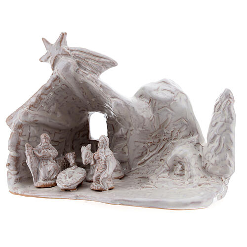Miniature nativity stable with Holy Family in white terracotta Deruta 10 cm 2