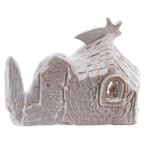 Miniature nativity stable with Holy Family in white terracotta Deruta 10 cm 4