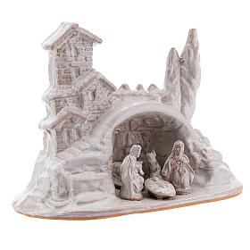 Miniature Nativity with hamlet in white Deruta terracotta 10 cm s3