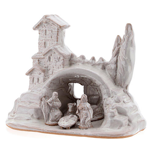 Miniature Nativity with hamlet in white Deruta terracotta 10 cm 2