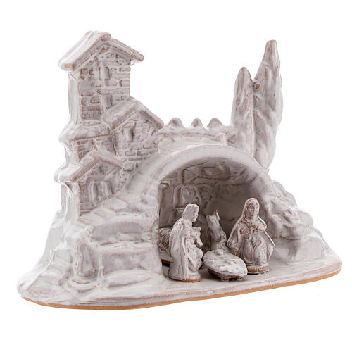 Miniature Nativity with hamlet in white Deruta terracotta 10 cm 3