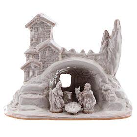 Mini Natividad con pueblo terracota Deruta esmalte blanco 10 cm s1