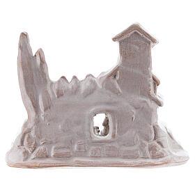 Mini Natividad con pueblo terracota Deruta esmalte blanco 10 cm s4