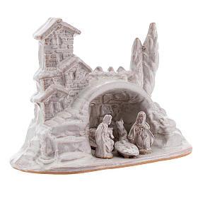 Mini Natività con borghetto terracotta Deruta smalto bianco 10 cm s3
