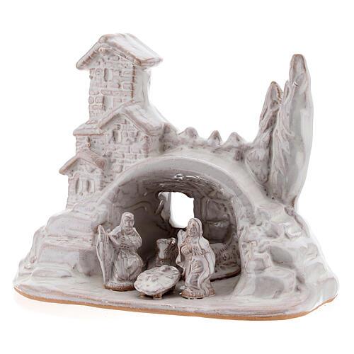 Mini Natività con borghetto terracotta Deruta smalto bianco 10 cm 2