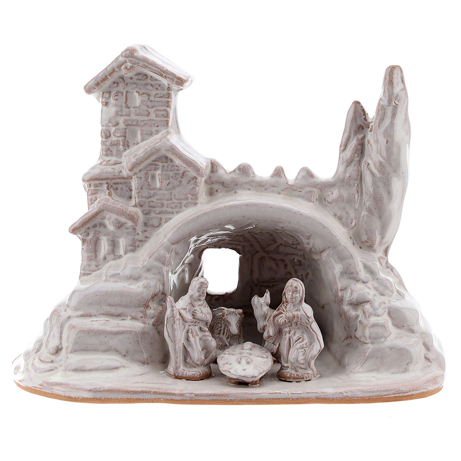 Mini Holy Family with village 10 cm white enamel Deruta terracotta 4