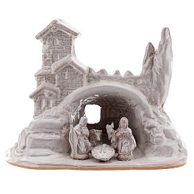 Mini Holy Family with village 10 cm white enamel Deruta terracotta s1