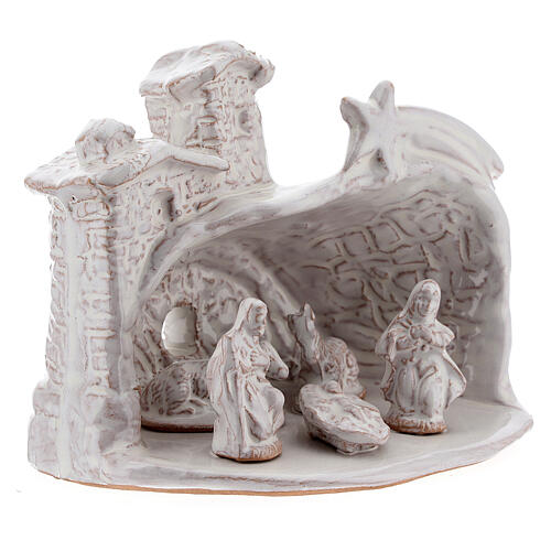 Nativity hut in white Deruta terracotta 10 cm 3