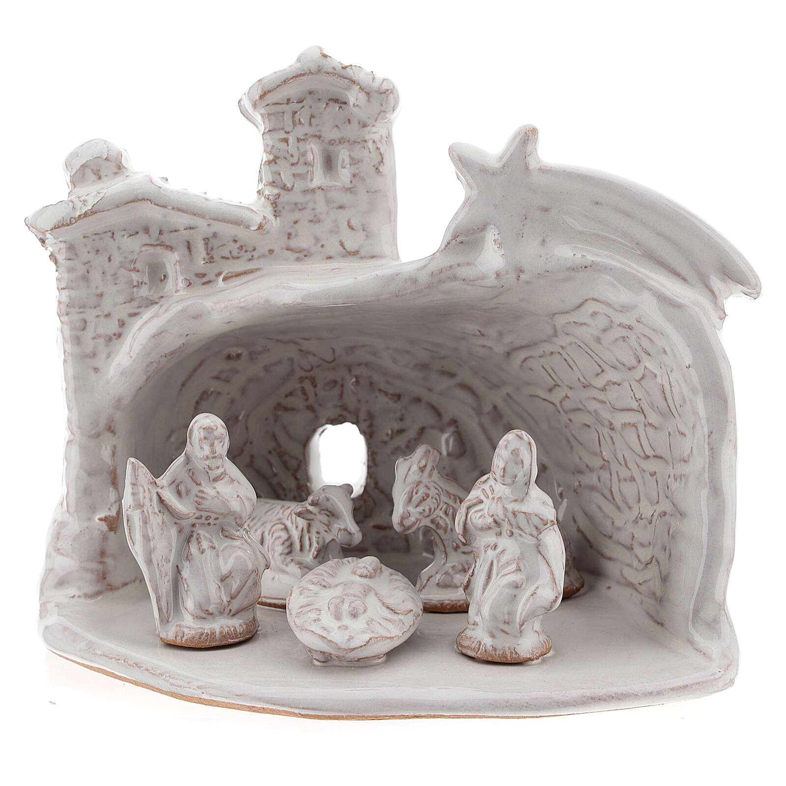 Capanna Natività effetto muratura terracotta bianca Deruta 10 cm 4