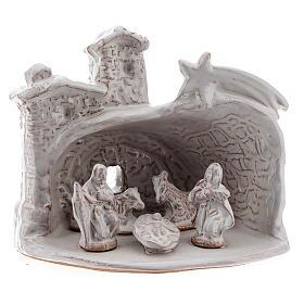 Capanna Natività effetto muratura terracotta bianca Deruta 10 cm s1