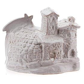 Capanna Natività effetto muratura terracotta bianca Deruta 10 cm s4