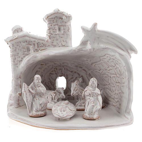Capanna Natività effetto muratura terracotta bianca Deruta 10 cm 2