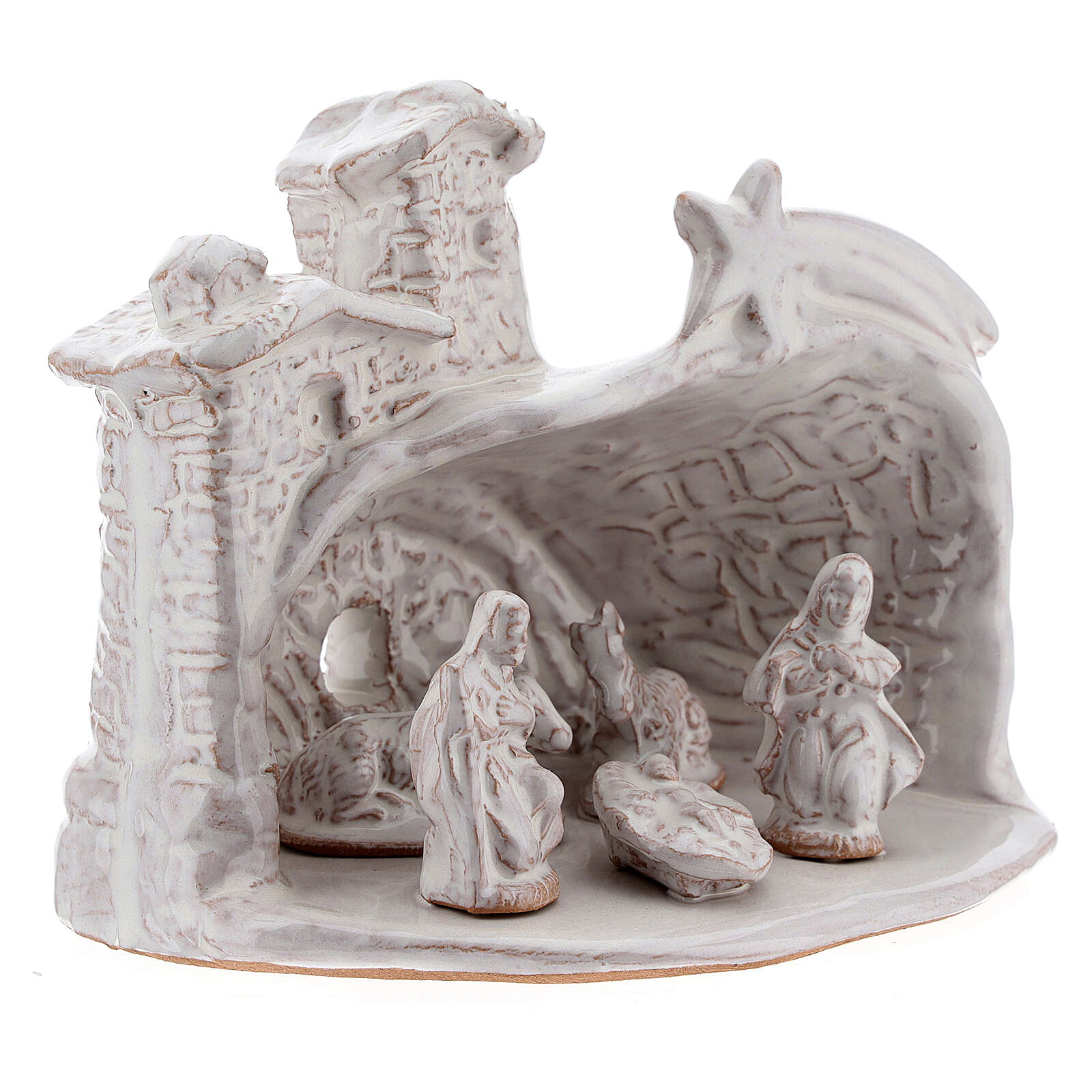Miniature nativity stable white terracotta brick effect Deruta 10 cm 4
