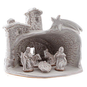 Miniature nativity stable white terracotta brick effect Deruta 10 cm s1
