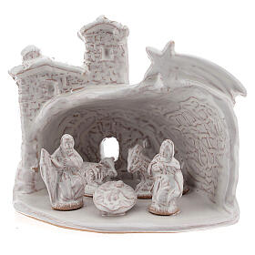 Miniature nativity stable white terracotta brick effect Deruta 10 cm s2