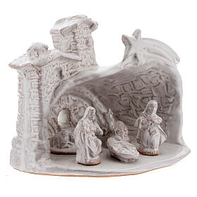 Miniature nativity stable white terracotta brick effect Deruta 10 cm s3