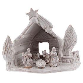 Trunk Nativity hut in white Deruta terracotta 10 cm s1
