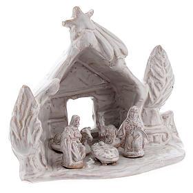 Trunk Nativity hut in white Deruta terracotta 10 cm s3