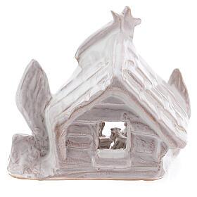 Trunk Nativity hut in white Deruta terracotta 10 cm s4