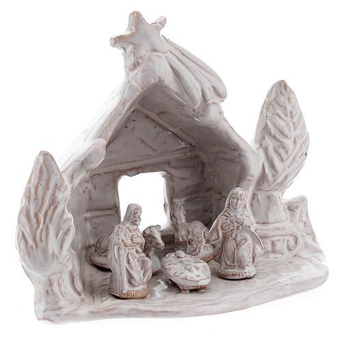 Trunk Nativity hut in white Deruta terracotta 10 cm 3