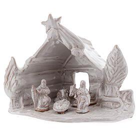 Cabaña de troncos belén Natividad terracota blanca Deruta 10 cm s2