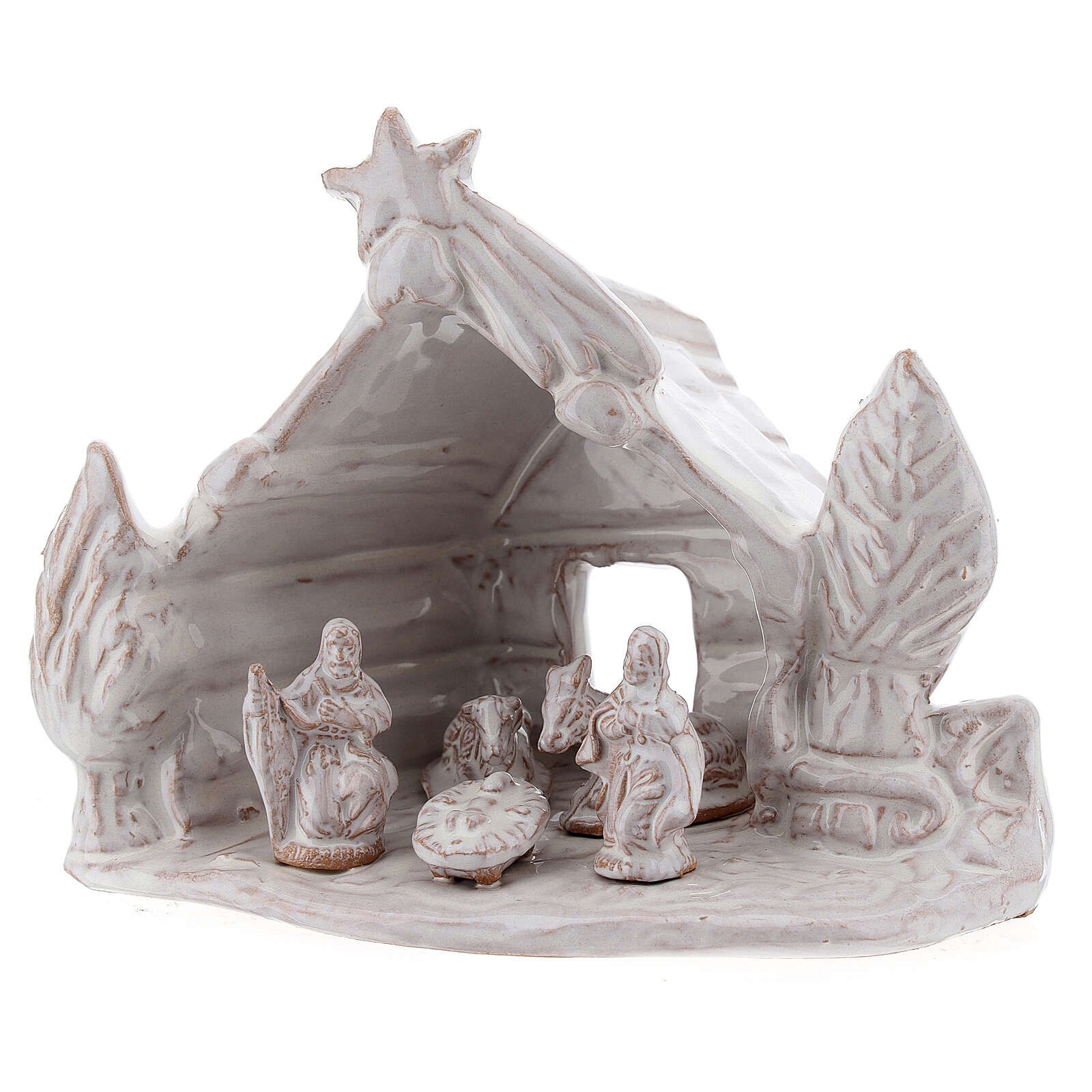 Nativity stable log cabin with white Holy Family white Deruta terracotta 10 cm 4