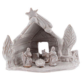 Nativity stable log cabin with white Holy Family white Deruta terracotta 10 cm s1