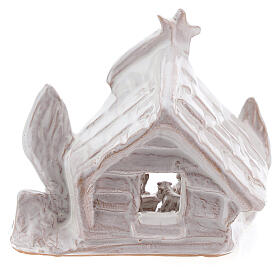 Nativity stable log cabin with white Holy Family white Deruta terracotta 10 cm s4