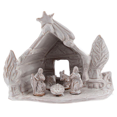 Nativity stable log cabin with white Holy Family white Deruta terracotta 10 cm 1