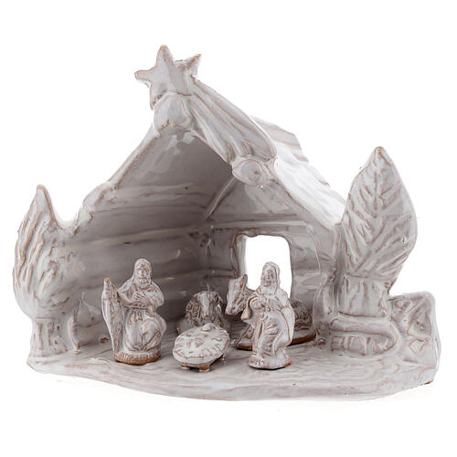 Nativity stable log cabin with white Holy Family white Deruta terracotta 10 cm 2
