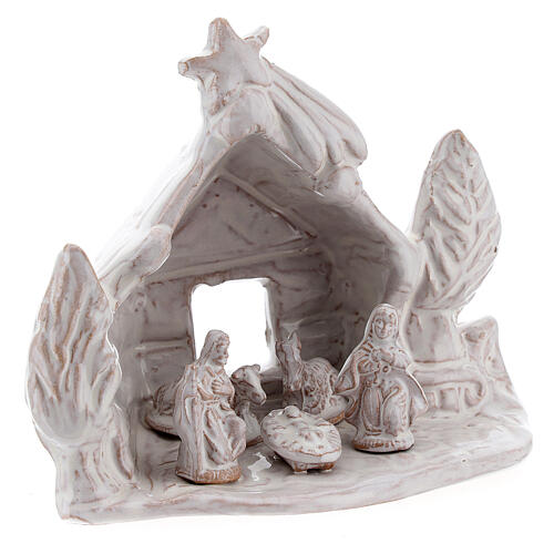Nativity stable log cabin with white Holy Family white Deruta terracotta 10 cm 3