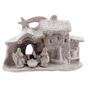 Nativity hut in white Deruta terracotta 10 cm s1