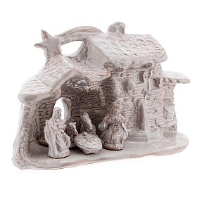 Nativity hut in white Deruta terracotta 10 cm s3