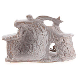 Nativity hut in white Deruta terracotta 10 cm s4