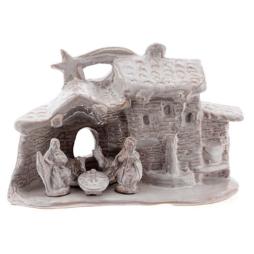 Nativity hut in white Deruta terracotta 10 cm 1