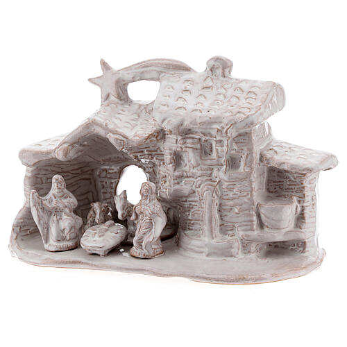 Nativity hut in white Deruta terracotta 10 cm 2