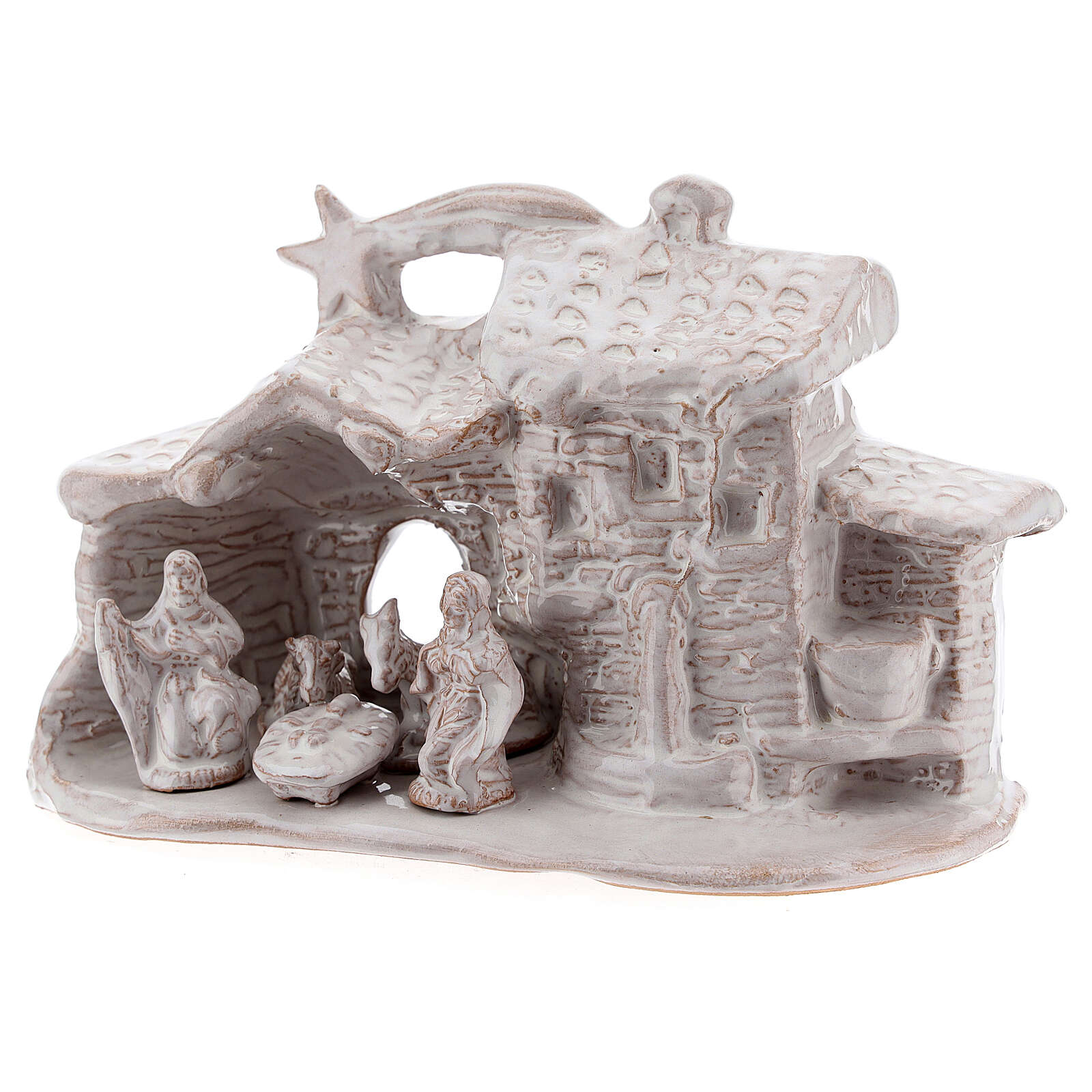 Stable village Nativity scene white Deruta terracotta 10 cm 4