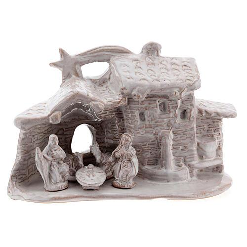 Stable village Nativity scene white Deruta terracotta 10 cm 1