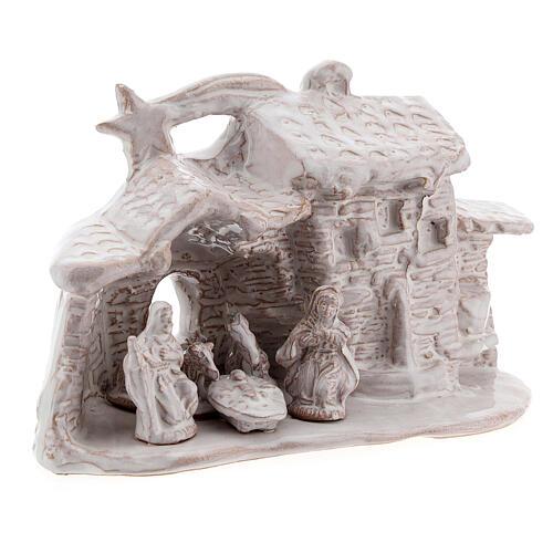 Stable village Nativity scene white Deruta terracotta 10 cm 3