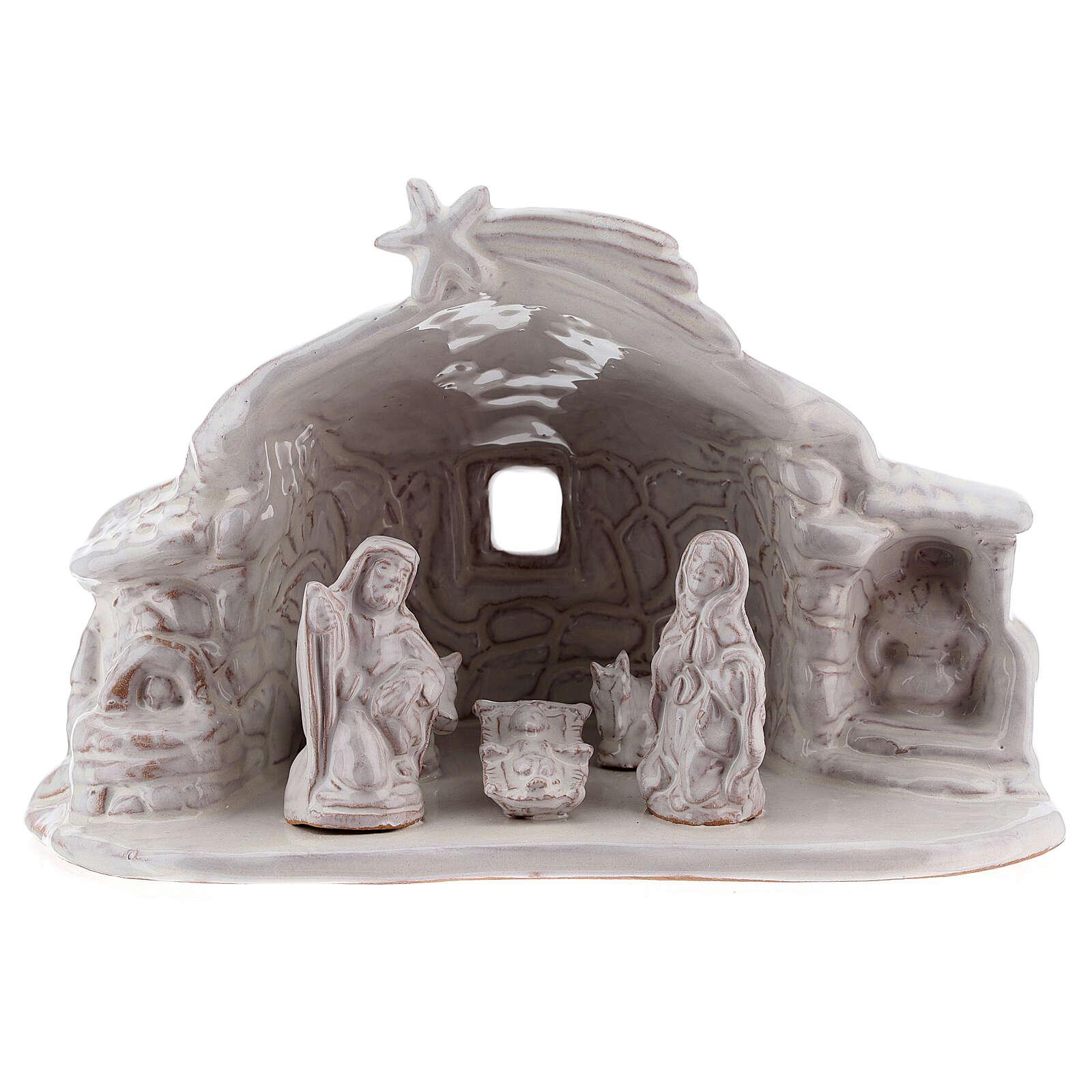 Nativity hut in white Deruta terracotta 15 cm 4