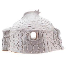 Nativity hut in white Deruta terracotta 15 cm s4
