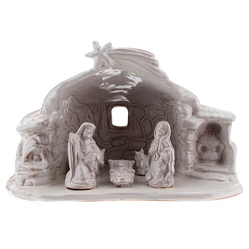 Nativity hut in white Deruta terracotta 15 cm 1