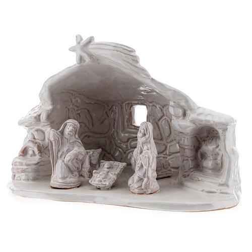 Nativity hut in white Deruta terracotta 15 cm 2
