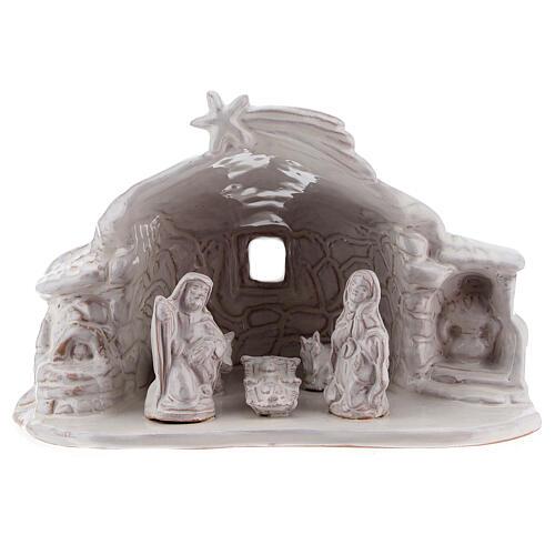 Establo Natividad efecto piedra terracota esmalte blanco Deruta 15 cm 1