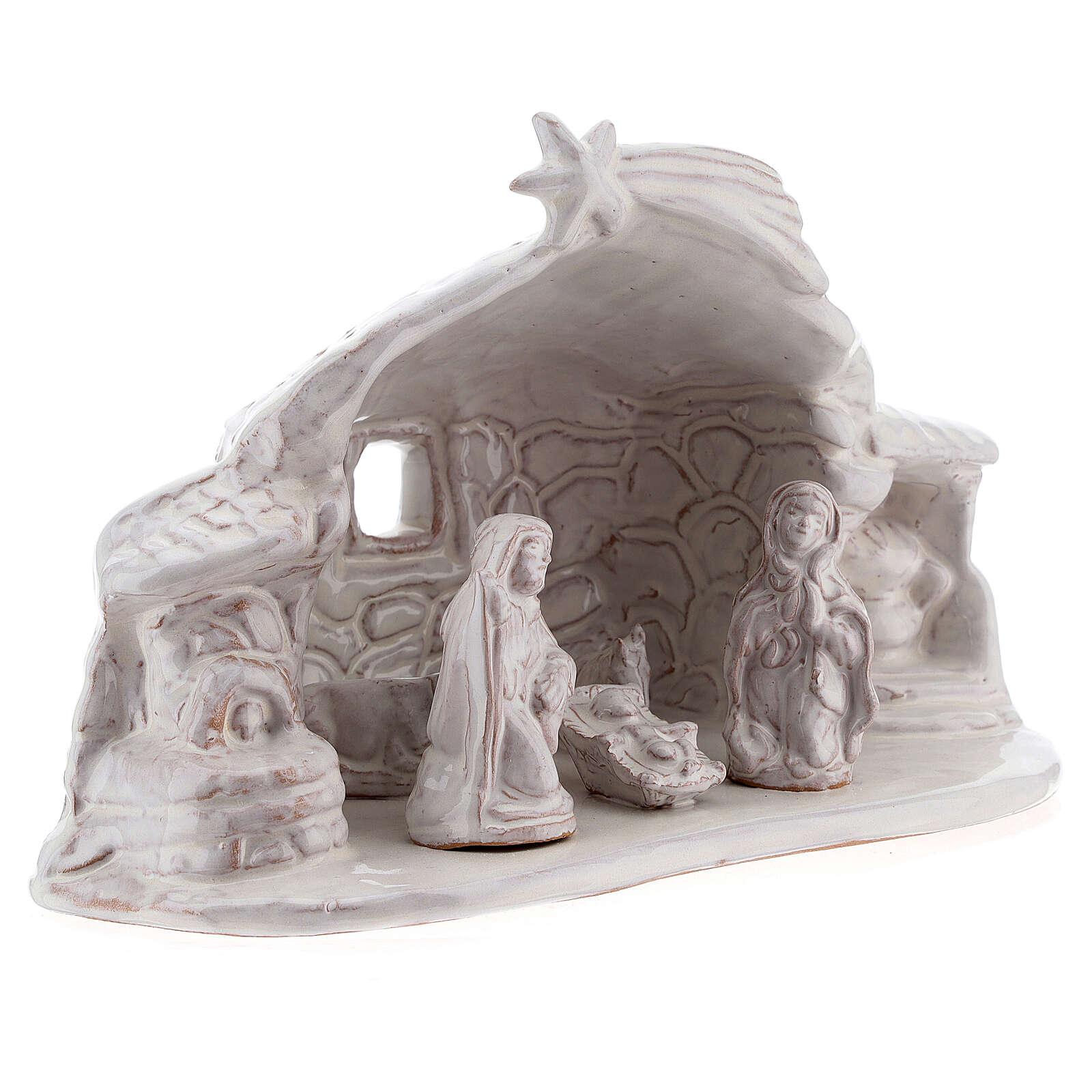 Stalla Natività effetto sasso terracotta smalto bianco Deruta 15 cm 4