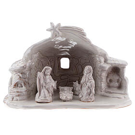 Nativity stable stone effect terracotta white paint Deruta 15 cm s1