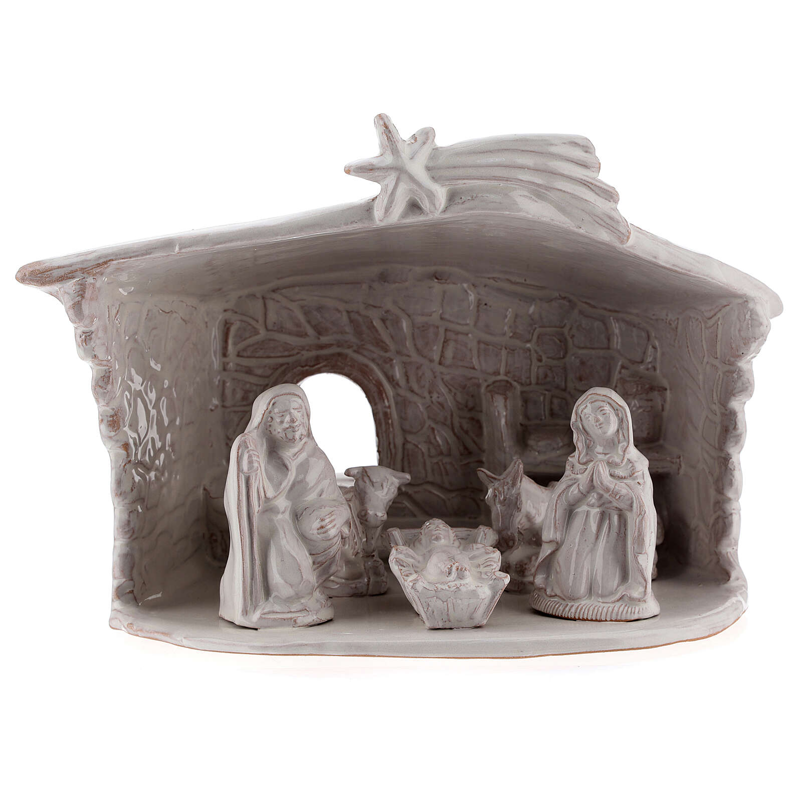 Nativity hut in white Deruta terracotta 20 cm 4