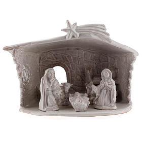 Nativity hut in white Deruta terracotta 20 cm s1