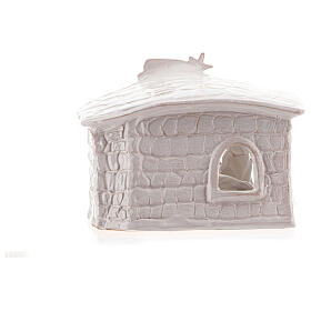 Nativity hut in white Deruta terracotta 20 cm s4