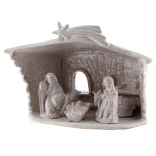 Nativity hut in white Deruta terracotta 20 cm 2